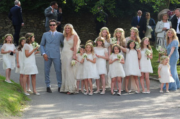 Kate Moss wedding dress and wedding party