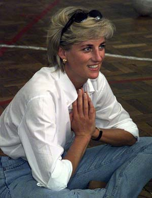 Princess Diana doing charity work
