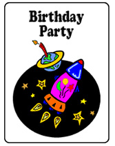 Space-themed party invitations