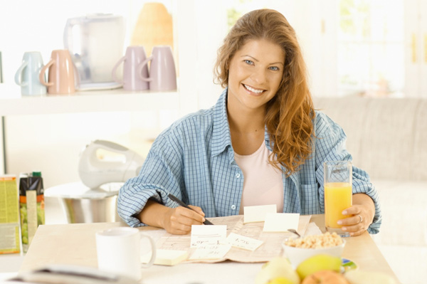 Woman creating healthly plan
