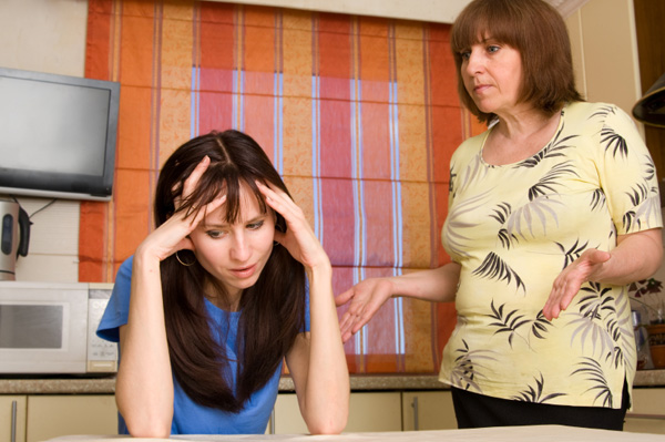 Woman dealing with mother in law