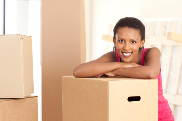 Woman packing for move
