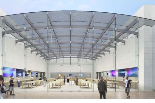 An Apple store with a glass ceiling?
