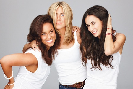 Alicia Keys, Jennifer Aniston, Demi Moore
