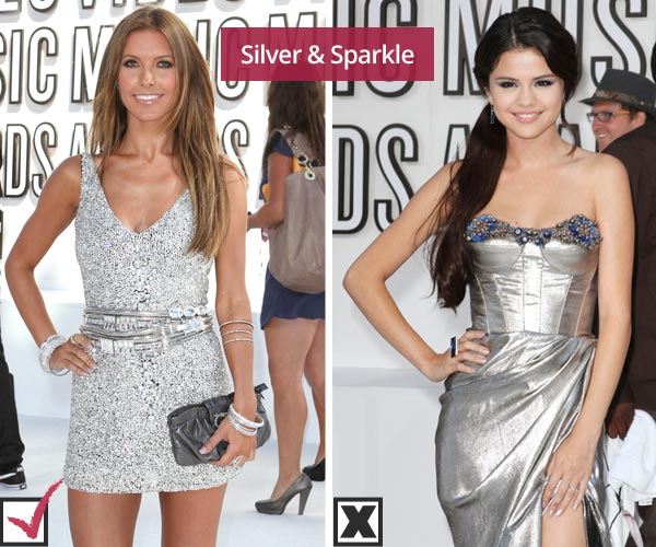 Audrina Patridge and Selena Gomez in metallic dressed at MTV VMAs