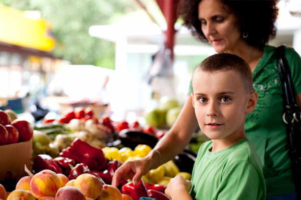 Mom and son at farmers market