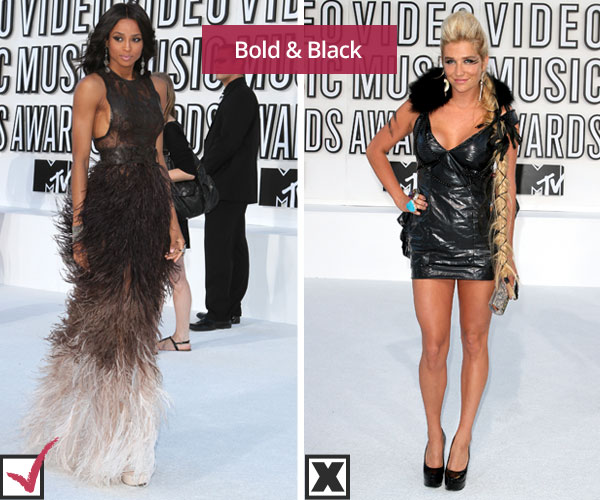 Ciara and Kesha in black dresses at the MTV VMAs