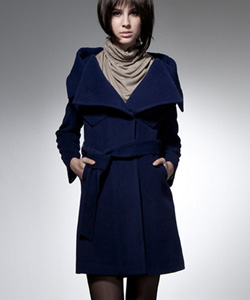 dark blue wool coat