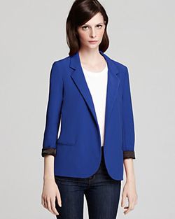 bold, blue girlfriend blazer