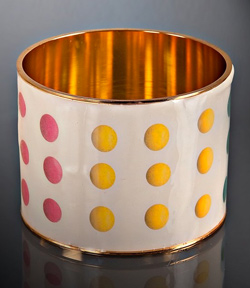 Seen here: White Enamel Candy Dots Bangle, $30