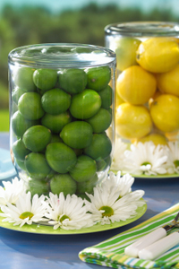 Lime and lemon vases