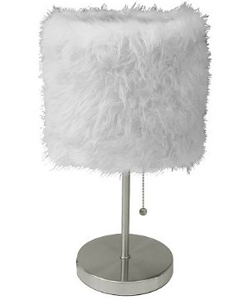 Fur Shade Stick Lamp