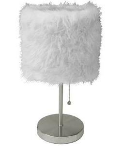 Fur Shade Stick Lamp