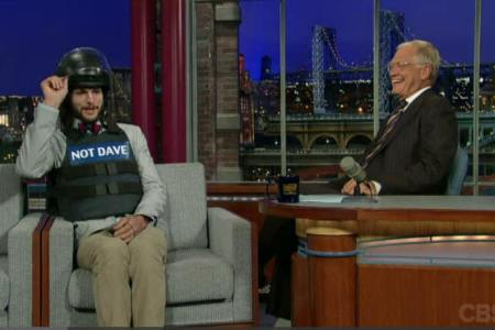 Ashton Kutcher wears protective gear visit Letterman and talks Two and a Half Men
