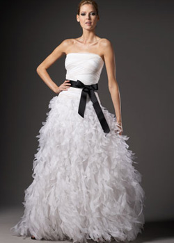 Organza-Bottom Silk Ball Gown