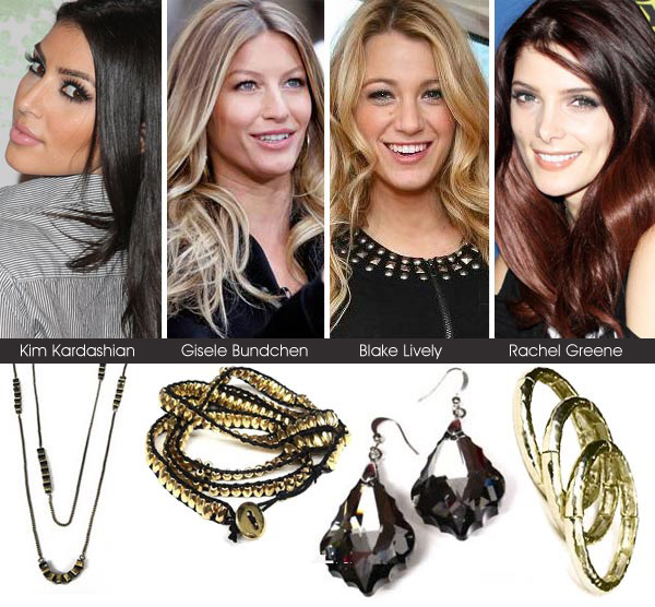 Kim Kardashian, Gisele Bundchen, Blake Lively and Ashley Greene jewelry choices