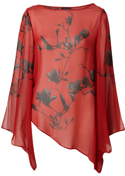 Red chinese print blouse (Topshop, $50)