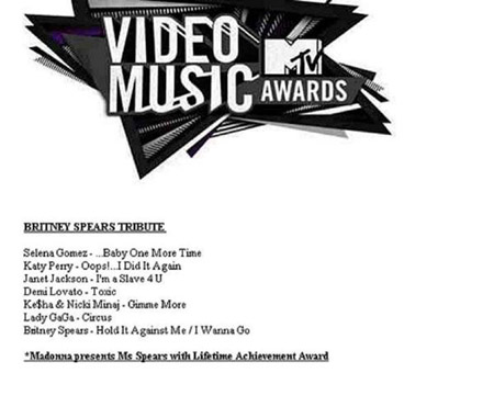 MTV VMA tribute to Britney Spears