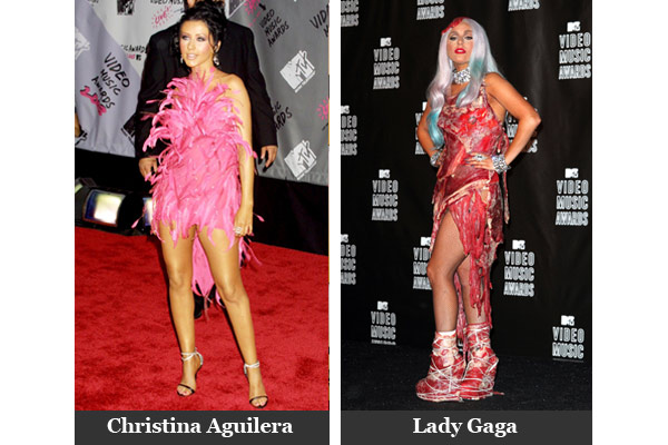 Christina Aguilera and Lady Gaga at the VMAs