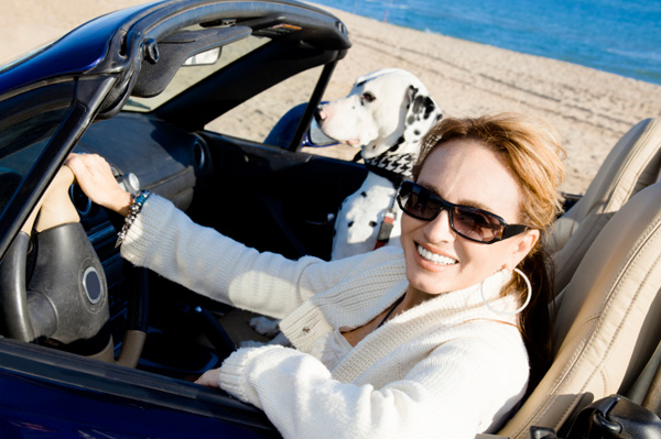 Woman on vacation with dog in car