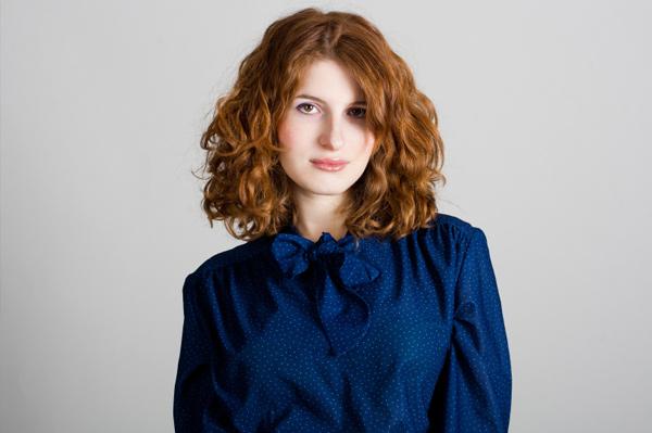 Redhead wearing blue