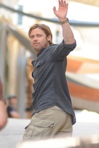 Brad Pitt on Set of World War Z