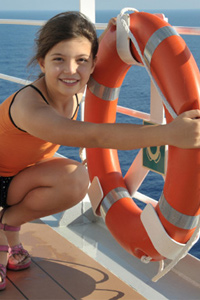 Girl on cruise ship