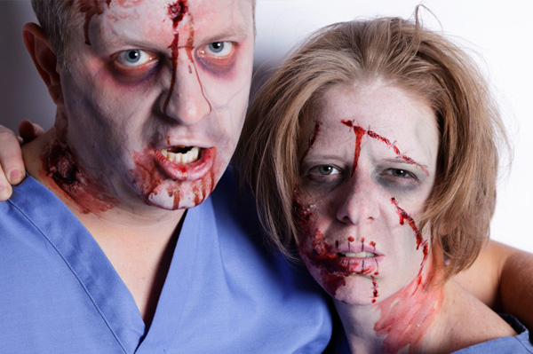 Zombie couple on Halloween