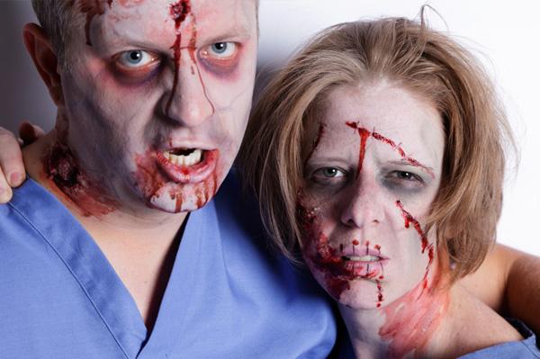 Zombie couple on Halloween
