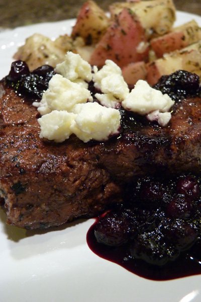 Blueberry, balsamic and feta sirloins