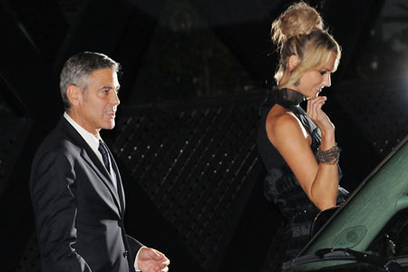 George Clooney and Stacy Keibler together in Toronto