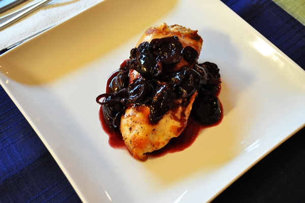 Tonight's Dinner: Grilled chicken with a red wine cherry sauce