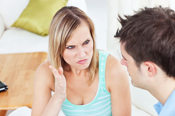 Woman annoyed with her husband
