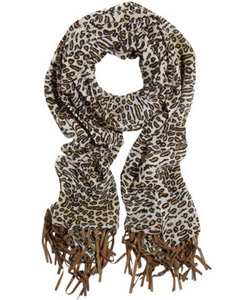 Bindya Fringed Animal Print Scarf