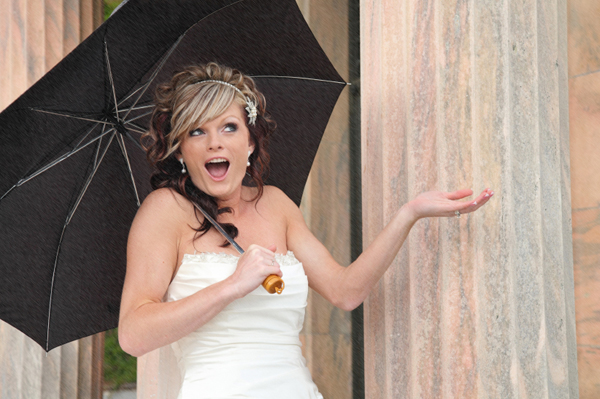 Bride on wedding day in the rain