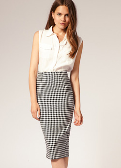 ASOS houndstooth pencil skirt
