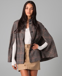 hooded houndstooth poncho