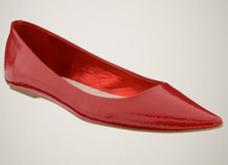Our pick: Patent pointy flats in red (GAP, $40).