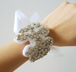 Crystal and ribbon bracelet