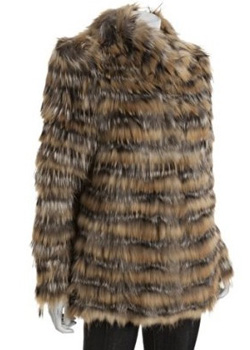 Blue Duck Striped Silver Fox Fur Coat