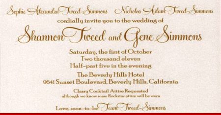 invitation of gene simmons and shannon tweed wedding