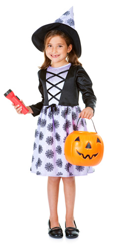 Halloween girl with flashlight