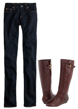 Seen here:J. Crew matchstick jeans & Steve Madden boots