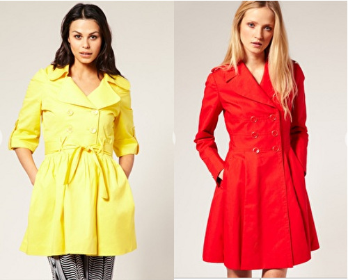 Flared trench coats