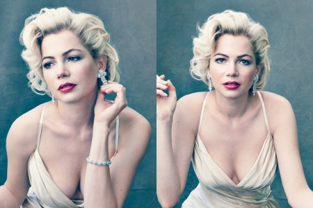 Michelle Williams chanels Marilyn Monroe