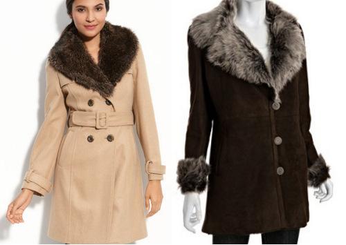 Fur collar coats