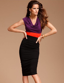 INC sleeveless cowlneck colorblock sheath dress