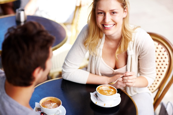 Smiling woman on first date