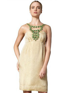Shoshanna beaded-neck empire-waist dress