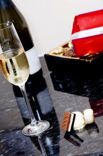 White wine and chocolate